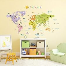Decowall, DM-1306, The World Map Wall Stickers/Wall decals/Wall tattoos/Wall tra