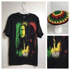 Bob Marley Reggae Zion Black Hip Hop T-Shirts & Hat Men's Sizes L Large  1A