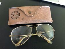 Vintage B&L Bausch Lomb Ray-Ban Gold Frame Aviator Sunglasses - Prescription