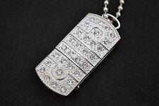 Swarovski Elements/Cristal Jewellery 16GB Usb En Plata Con Collar Y Bolsa De Regalo