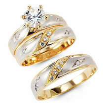 14K Yellow Two Tone Gold Engagement Promise Bridal Wedding Bands Trio 3 Ring Set