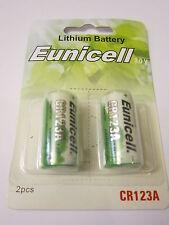 Eunicell 2x CR123A CR-123AW CR173435 3V Lithium Batteries Digital Camera Alarm