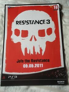 RESISTANCE 3 VIDEOGAME DOUBLE-SIDED UK PROMO POSTER brand new RARE !!