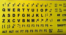 English UK Large BLACK Letter on Non-Transparent YELLOW Keyboard Stickers
