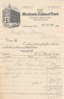 U.S. MERCHANTS NATIONAL BANK, Lawrence, Kans. 1901 Illustrated Invoice Ref 44070