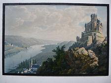 1829 gouachiert aquarellierte Aquatinta BRAUBACH MARKSBURG  Bodmer Lasinsky