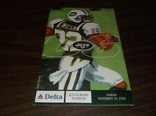 NOVEMBER 19th, 2006 NEW YORK JETS PLAYBOOK VERSUS CHICAGO BEARS PROGRAM