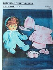 Knitting Pattern For Dolls Blue / Pink Outfits For 14Inch DOLL In 4 Ply. See Det