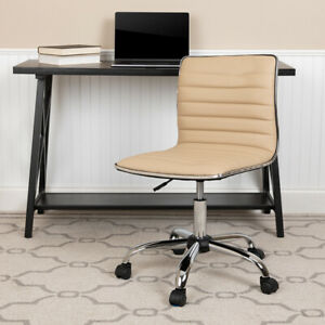 Low Back Designer Armless Tan Ribbed Swivel Task Office Chair