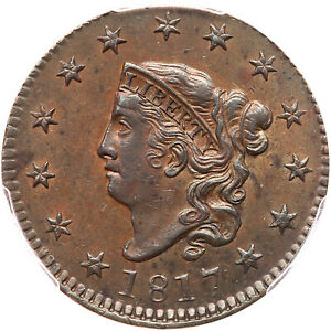 1817 N-8 PCGS AU 58 CAC Matron or Coronet Head Large Cent Coin 1c