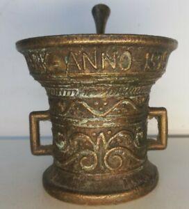 Ancien mortier et pilon En Bronze Neit-verwini Anno 1590 Vintages Décoration...