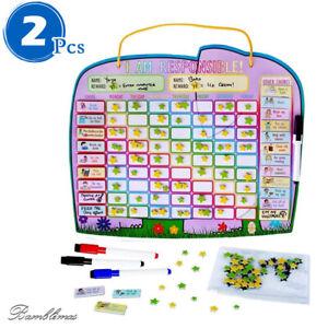 2pcs, Autism Magnetic Chore Reward Chart For Two Children Improve Kids Behaviour