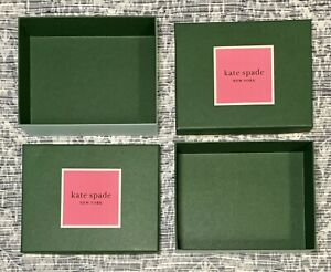 New Kate Spade Lot of 2 Green Empty Gift Box 4.5 x 5.75 x 1.75 2 Piece Box