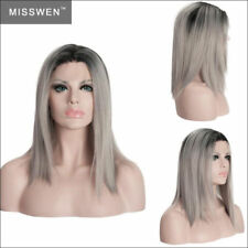 Silver Grey Lace Front Wig Short Straight Heat Resistant Synthetic Hair