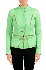 Just Cavalli 100% Leather Green Full Zip Women's Basic Jacket US S IT 40