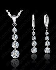 Stirling silver chain crystal necklace and earring set