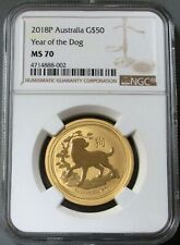2018 P GOLD AUSTRALIA $50 LUNAR YEAR OF THE DOG NGC MINT STATE 70