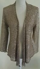 New SISTERS Gold Sparkly Open Front Knit Cardigan Wedding Formal Club SMALL NWT