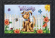 """Springtime Puppy Welcome Doormat Indoor Outdoor Flowers Fence 18"""" x 30"""""""