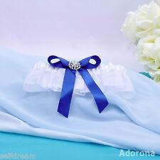 GB26e New White Royal Blue Satin Organza bridal Garter Wedding Ceremony