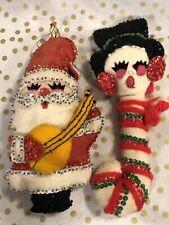 Vintage Handmade Christmas Ornaments Felt Sequin Bead Santa & Snowman Candy Cane