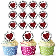 Rugby Red Roses 40th Anniversary 24 Personalised PreCut Edible Cupcake Toppers