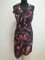 J324 WOMENS KAREN MILLEN BLACK MULTI COLOURED BELT FORMAL DRESS UK 12 BNWT £125