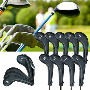 Golf Head Covers Irons Club Headcovers Set Of 9 Pu With Zipper Long Neck Gift