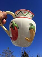 Vintage RED HOT CHILI PEPPER Green Yellow Ceramic Clay Art PITCHER ▬ 6/7 ❤️m17