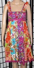 ETC Women's Small Multi-Color Floral Festival Stretchy Above the Knee Dress EUC