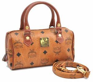 Auth MCM Cognac Visetos Leather Vintage 2Way Mini Boston Hand Bag Brown D8510