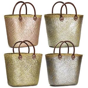 """Korbtasche """"Glitter"""" Strandtasche Einkaufen Sommer Uralub Schwimmen Shopper Bag"""