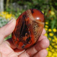 "Large Red Sardonyx Banded Agate Polished Crystal Palm Stone 113g 3"""