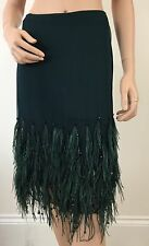 VALENTINO ROMA  UK 8 - 10 , USA 6 -I 40 SKIRT OSTRICH FEATHER GREEN -CRYSTAL