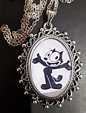 Felix GATTO ORNATA collana con pendente in argento antico Kitty ANNI 1950 retrò bambini cartoni animati
