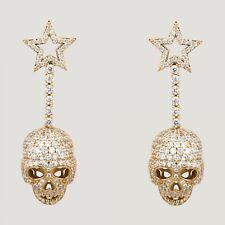 Butler And Wilson Goldtone Crystal Star Skull Drop Earrings New