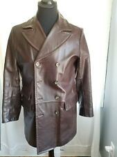 ULTRA RARE VINTAGE BANANA REPUBLIC GENUINE LEATHER COAT JACKET SMALL BROWN DB