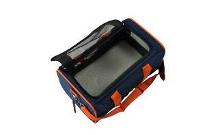 Dog Soft Crate Carrier With Mat Pet Containment 41x25x21cm Foldable Orange/Blue