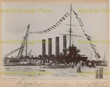 OLD CHINESE ALBUMEN PHOTO GERMAN BATTLESHIP TSINGTAO DOCKS CHINA VINTAGE C.1900