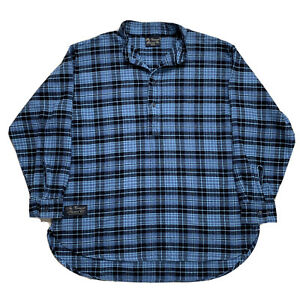 Mint M Vermont Flannel Co Blue Plaid Pull Over Flannel Button Front Made USA