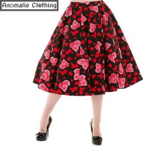 Hearts and Roses Skirt - 1950s Retro Rockabilly Vintage Inspired Valentines Day