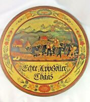 Scandinavian Wooden Wall Plaque Dutch Phrase 1960s Cows Hillside