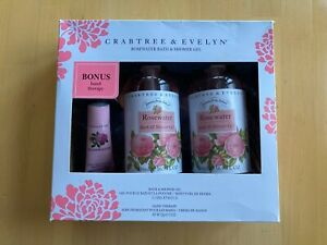 Crabtree & Evelyn Rosewater Bath & Shower Gel 2x16.9oz w/Hand Therapy Gift Set