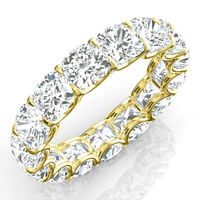 6.46ct Cushion Eternity Diamond Engagement Ring Band Solid 14k Yellow gold