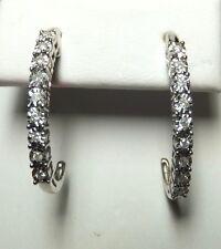argento sterling diaura ORIGINALE 1/5 CTW DIAMANTE j-hoop Orecchini pendenti