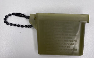 US ARMY MILITARY EAR PLUGS WITH CHAIN  CASE INSERTER PLASTIC OD Green