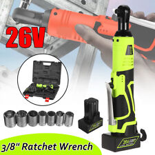 26V 160NM 3/8'' Cordless Electric Rattle Nut Gun Impact Wrench Tool+Battery Kit