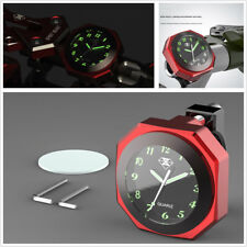 Red Motorcycle ATV Modified Luminous Clock Time Aluminum Alloy Gauge Waterproof