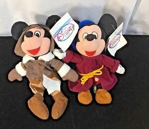 Disney Bean Bag Characters~Pilot Mickey & Sorcerer Mickey~Fantasia~Lot of 2~NWT~