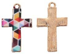 10x Anhänger Kreuz, Metall Emaille, 17x28mm, Mosaik Bunt